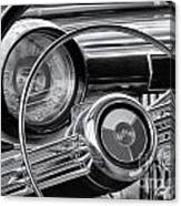 1953 Buick Super Dashboard And Steering Wheel Bw Canvas Print