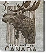 1953 Canada Moose Stamp Canvas Print