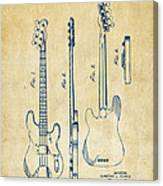 1953 Fender Bass Guitar Patent Artwork - Vintage Canvas Print