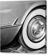 1954 Chevrolet Corvette Wheel Emblem -159bw Canvas Print