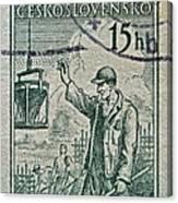 1954 Czechoslovakian Construction Worker Stamp Canvas Print