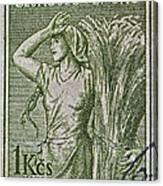 1954 Czechoslovakian Farm Woman Stamp Canvas Print