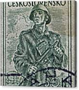 1954 Czechoslovakian Soldier Stamp Canvas Print