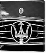 1954 Maserati A6 Gcs Grille Emblem -0259bw Canvas Print