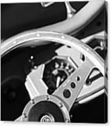 1954 Mg Tf Steering Wheel Emblem -0920bw Canvas Print