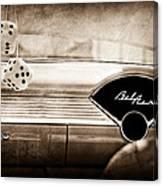 1955 Chevrolet Belair Dashboard Emblem Canvas Print