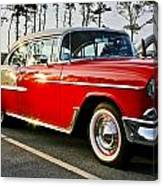 1955 Chevy Bel Air Down The Side - Red And White Canvas Print