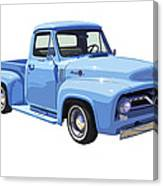 1955 Ford F100 Blue Pickup Truck Canvas Canvas Print