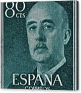 1955 General Franco Spanish Stamp Canvas Print