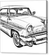 1955 Lincoln Capri Luxury Car Illustration Canvas Print
