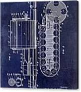 1955 Rocket Launcher Patent Drawing Blue Canvas Print