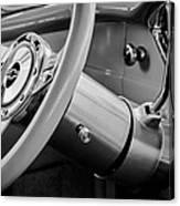 1956 Chevrolet 210 2-door Handyman Wagon Steering Wheel Emblem -189bw Canvas Print