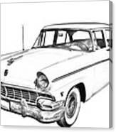 1956 Ford Custom Line Antique Car Illustration Canvas Print