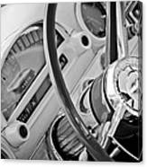 1956 Ford Thunderbird Steering Wheel -322bw Canvas Print