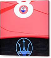 1956 Maserati 150s Grill Emblem - The Beels Racing Team Canvas Print