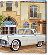 1956 Thunderbird At Palm Beach  Classic Vintage Ford Art Sketch Rendering          Canvas Print
