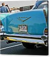 1957 Chevy Bel Air Blue From Rear Canvas Print