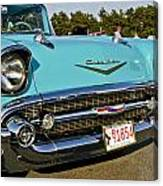 1957 Chevy Bel Air Blue Front Grill Canvas Print