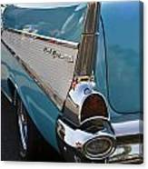 1957 Chevy Bel Air Blue Rear Quarter From Back Canvas Print
