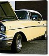 1957 Chevy Bel Air Yellow Down The Side Canvas Print