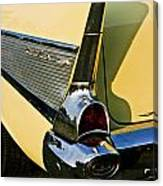 1957 Chevy Bel Air Yellow Fin And Tail Light Canvas Print
