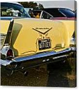 1957 Chevy Bel Air Yellow From Rear Quater Canvas Print