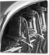 1957 Corvette Grille Black And White Canvas Print