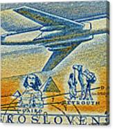 1957 Czechoslovakia Airline Stamp Canvas Print