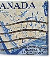 1957 David Thompson Canada Stamp Canvas Print
