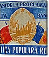 1957 Romanian Coat Of Arms And Flags Stamp Canvas Print