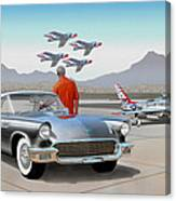 1957 Thunderbird  With F-84 Gunmetal Vintage Ford Classic Art Sketch Rendering           Canvas Print