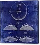 1958 Bowling Patent Drawing Blue Canvas Print