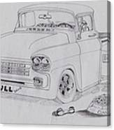 1958 Chevby Pick Up Junkyard Dawg Aka The Bull Dawg Canvas Print