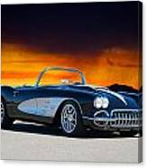 1958 Corvette At Sunset Canvas Print