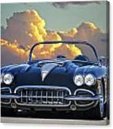 1958 Corvette In Clouds Canvas Print