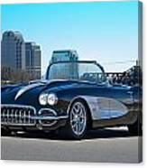 1958 Corvette With Skyline Canvas Print