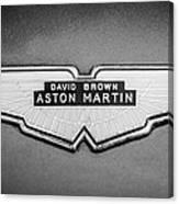 1959 Aston Martin Db4 Gt Hood Emblem -0127bw Canvas Print