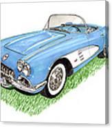 1959 Corvette Frost Blue Canvas Print