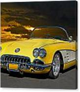 1959 Corvette Yellow Roadster Canvas Print