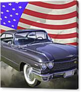 1960 Cadillac Luxury Car And American Flag Canvas Print