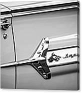 1960 Chevrolet Impala Emblem -340bw Canvas Print