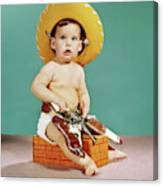1960s Baby Wearing Cowboy Hat Canvas Print