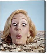 1960s Blond Woman Funny Facial Canvas Print