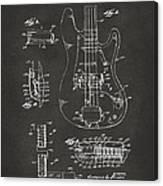 1961 Fender Guitar Patent Artwork - Gray Canvas Print