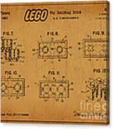 1961 Lego Building Blocks Patent Art 6 Canvas Print