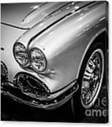 1962 Chevrolet Corvette Black And White Picture Canvas Print