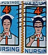 1962 Nursing Stamp Collage Canvas Print