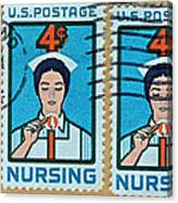 1962 Nursing Stamp Collage - Oakland Ca Postmark Canvas Print
