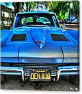 1963 Blue Corvette Stingray-front View Canvas Print