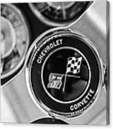 1963 Chevrolet Corvette Split Window Steering Wheel Emblem -170bw Canvas Print